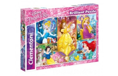[ Black Friday 2020 ] CLEMENTONI PUZZLE BRILLIANT 104el. DISNEY PRINCESS KSIĘŻNICZKI 20140